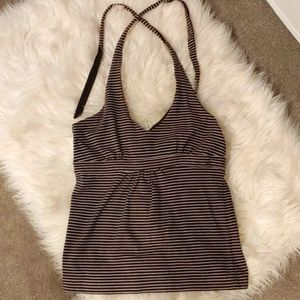 Brown and white striped Loft halter top